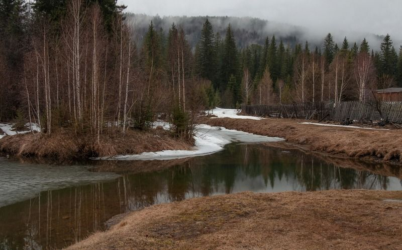 весна, глубинка, туман, непогода. Весна в глубинке.photo preview