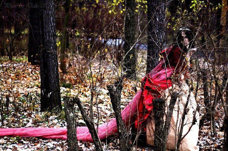 принцесса, кусты, бег, испуг Убегая от себяphoto preview