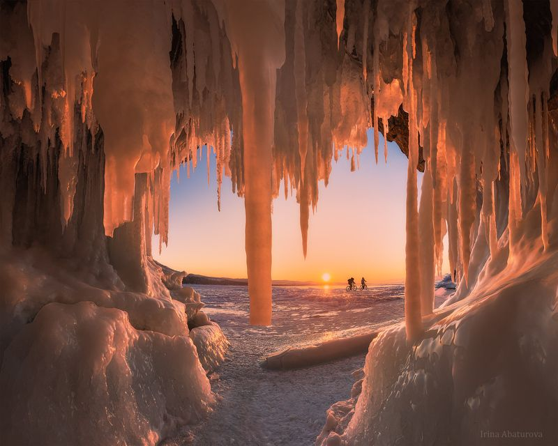 байкал, грот, сосульки, закат, лед, ледяной грот Ледяной занавесphoto preview