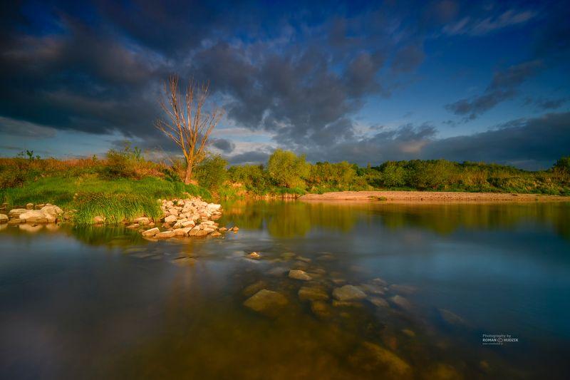 river, Kociewie, Poland, landscape, clouds sunrise, stones, sunset, water, On the river. фото превью