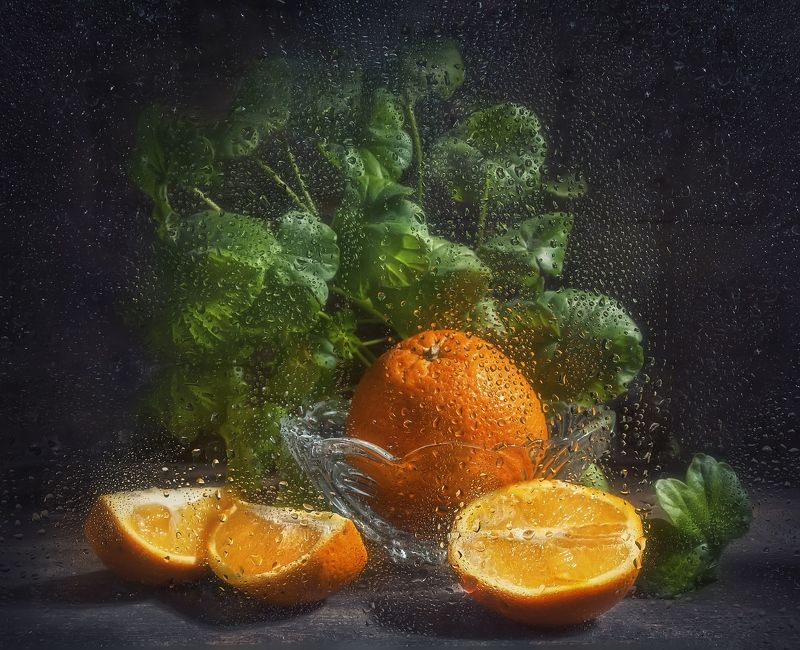 апельсин,витамин,оранжевый,сочный,растение,фрукт,листья герани,капли на стекле,тёмный Солнечный витамин !photo preview