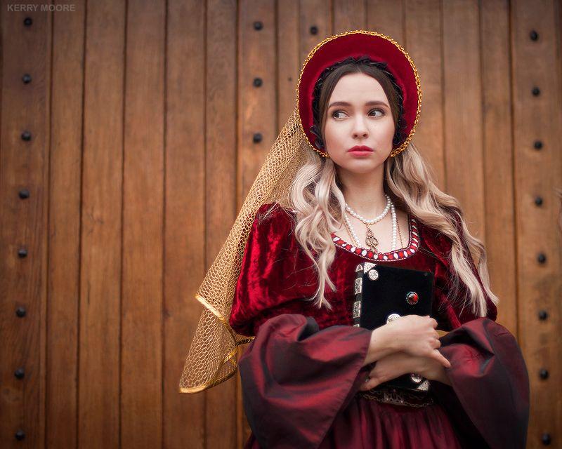 portrait, girl, портрет,style, red, dress, model, woman, White princessphoto preview