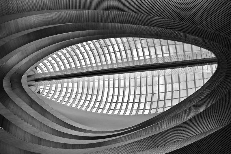 City/Architecture, city, architecture, Switzerland, Zurich, Santiago Calatrava, modern architecture, University, library, lines, black & white, light, geometry,  Окно в космосphoto preview