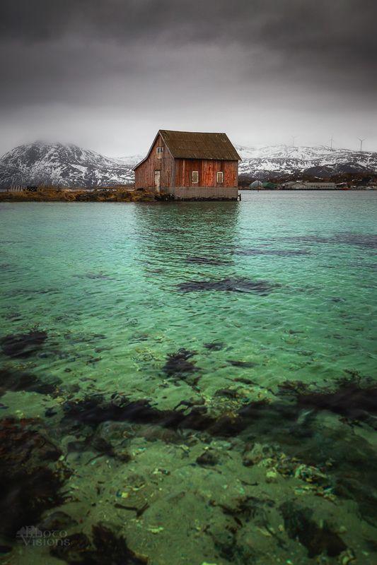 seascape,norway,norwegian,sea,seashore,shoreline,coast,coastline,boat house,architecture,north,arctic, The Old Boat Housephoto preview