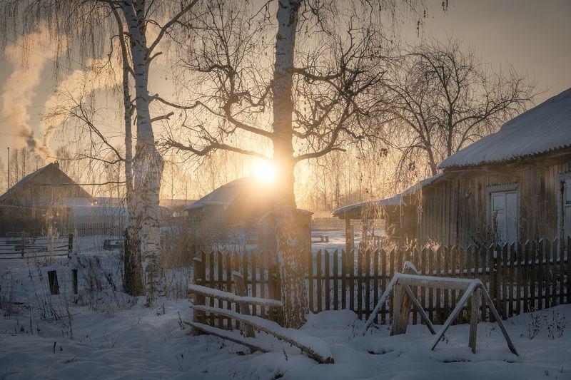 деревня, никифорово, мороз, утро, зима, солнце, пейзаж, пермь Деревенское утроphoto preview
