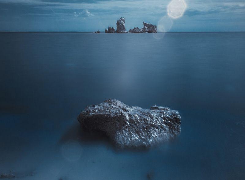 вечер, осень, черное море, керченский пролив, пляж, городище мирмекий, античность, скалы, крымский мост, пантикапей, боспорское царство, керчь, крым, россия, анатолий щербак К молчанию Нептуна.photo preview