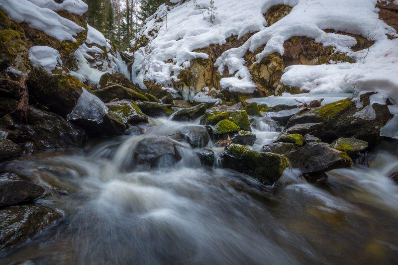 весна река лес камни урал Весна на реке Глубокойphoto preview