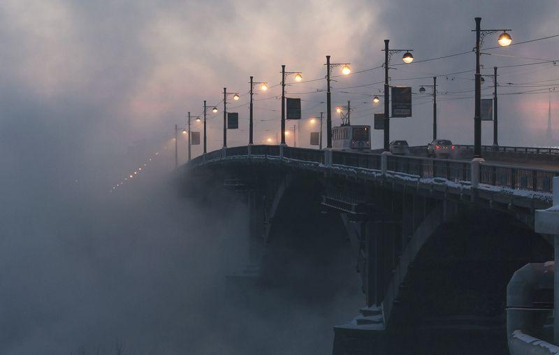 иркутск, ангара, глазковский, мост Зимний иркутский рассветphoto preview