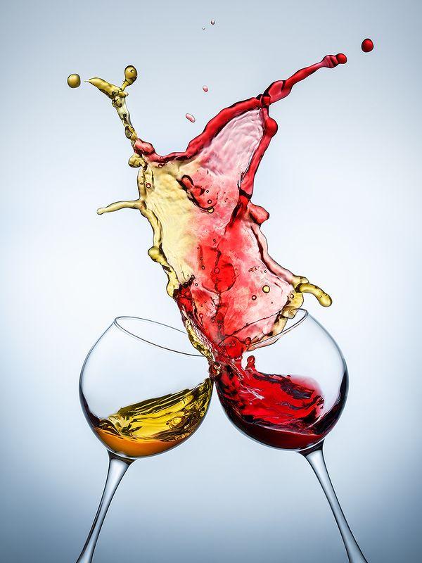 всплеск, splash, вино, стекло, бокалы, предметка, напитки, момент Красное и белоеphoto preview