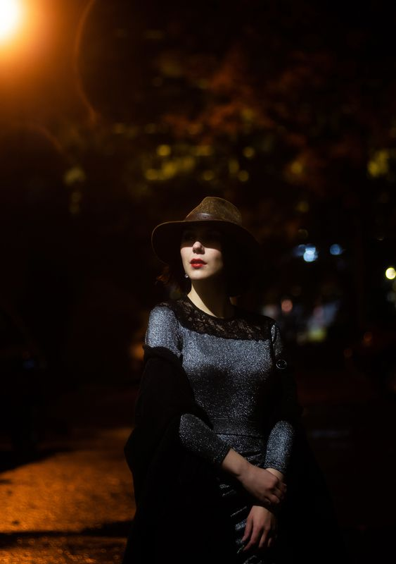 женскийпортрет, нуар, девушка, шляпа, портрет, вечер, помада, portrait, female, noir, film FILM NOIRphoto preview