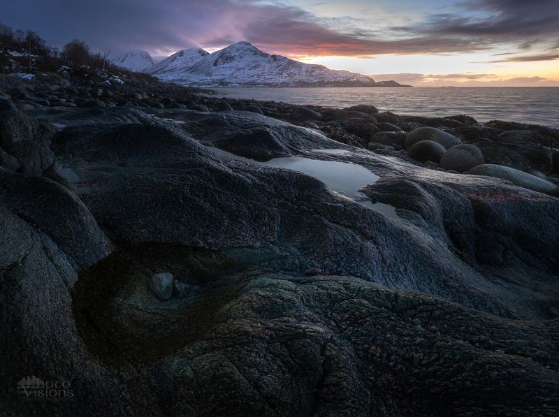 seascape,rocks,shoreline,coastline,norway,north,arctic,sunset,winter, Rocky shorephoto preview
