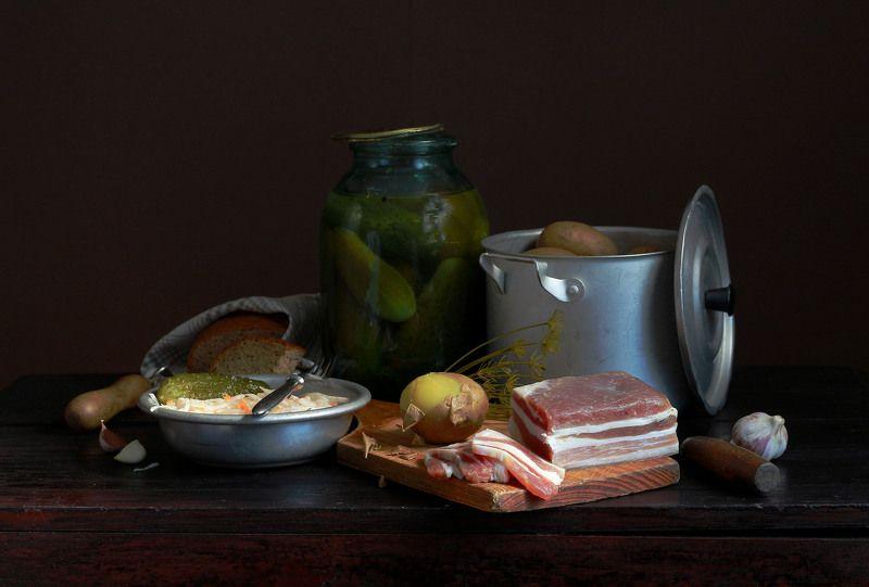 натюрморт, фотонатюрморт, еда, сало, картошка, хлеб, наталья казанцева Приятного аппетита!photo preview