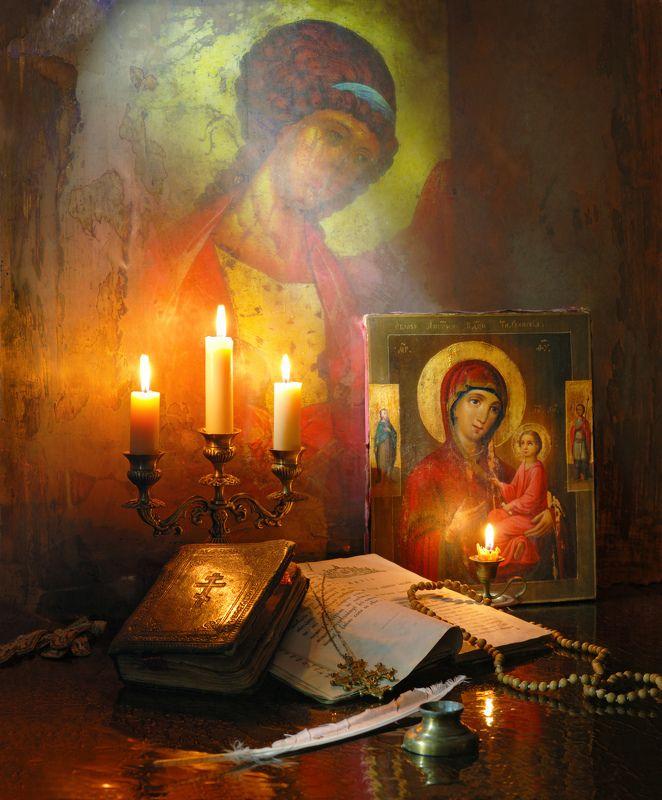 икона, свечи, Богородица, ангел, книги, религия Благовещение Пресвятой Богородицыphoto preview