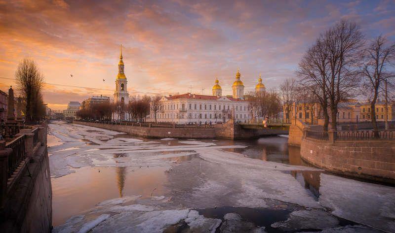 петербург, город, мост, вода, река, рассвет, пейзаж, закат Вечер у Семимостьяphoto preview