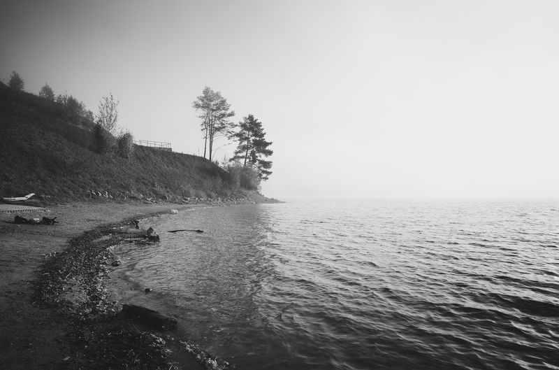 bnw, bieszczady, landscape, poland, solina, lake photo preview