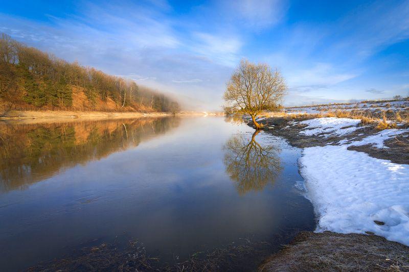 туман, московская область, утро, природа, пейзаж, весна, река, солнце Весенний этюдphoto preview
