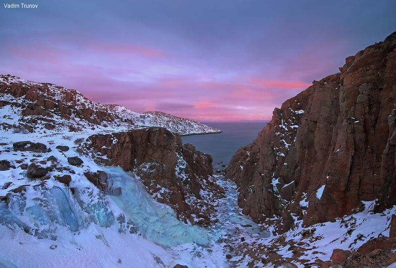 кольский, север, заполярье, териберка, баренцево море Замёрзший водопадphoto preview