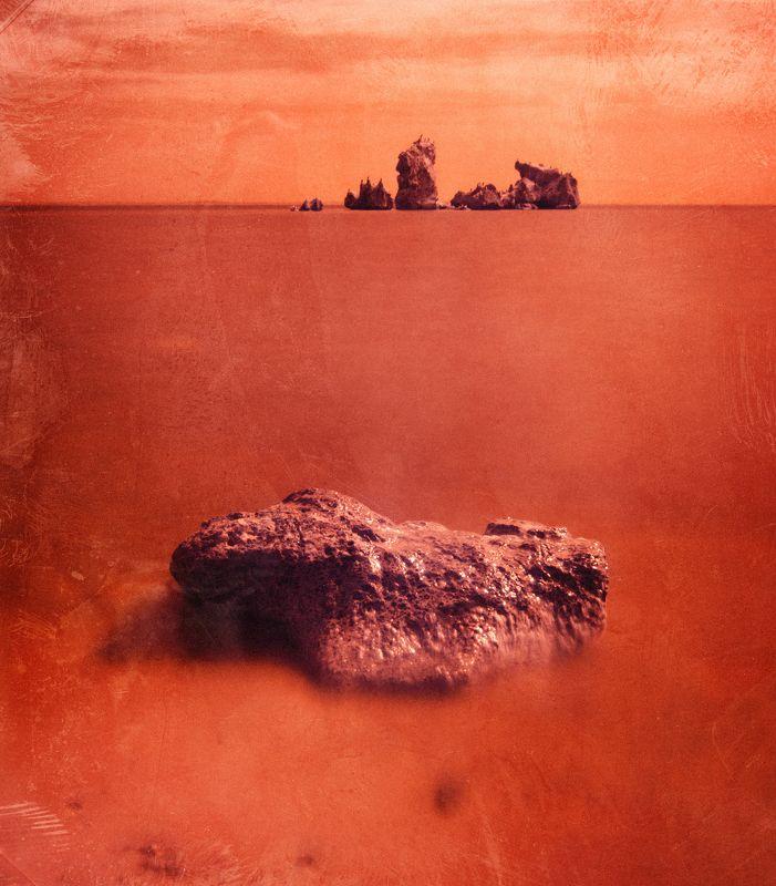 инфракрасная фотография, весна, черное море, керченский пролив, скалы, античное городище мирмекий, пляж, марсианское, длинная выдержка, керчь, крым, россия, анатолий щербак Martianum.photo preview
