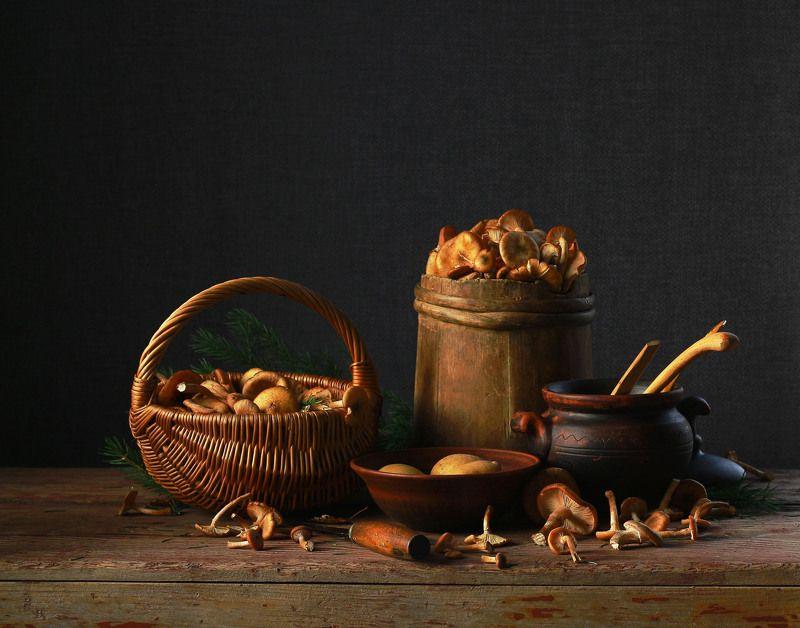 натюрморт, фотонатюрморт, осень, грибы, опята,, наталья казанцева Дело к ужинуphoto preview