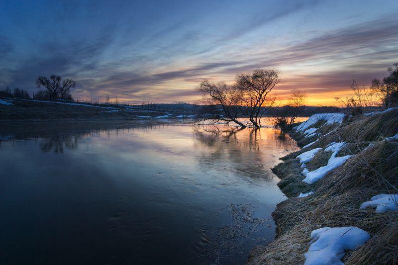 туман, московская область, утро, природа, пейзаж, весна, рассвет, солнце Перед рассветомphoto preview