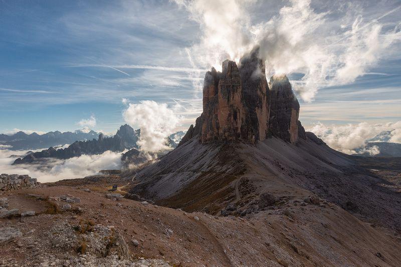 tre cime di lavaredo, италия, доломиты, горы, облака Облачная корона.photo preview