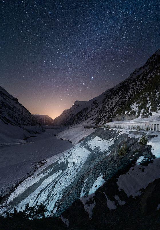 livigno, italy, italia, night, milky way, ночная, италия, лед, ночь Frozen lake of Livignophoto preview