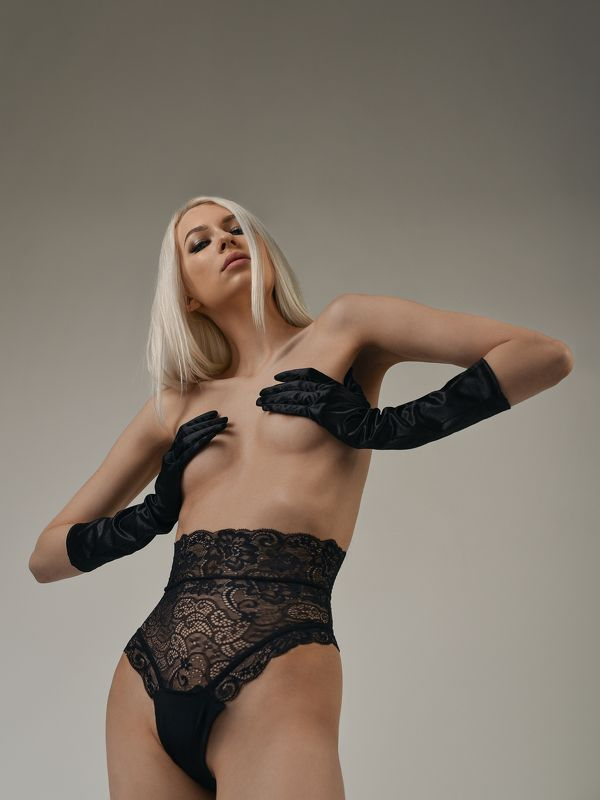portrait girl  white model dmitrymedved black gloves Diana and black glovesphoto preview