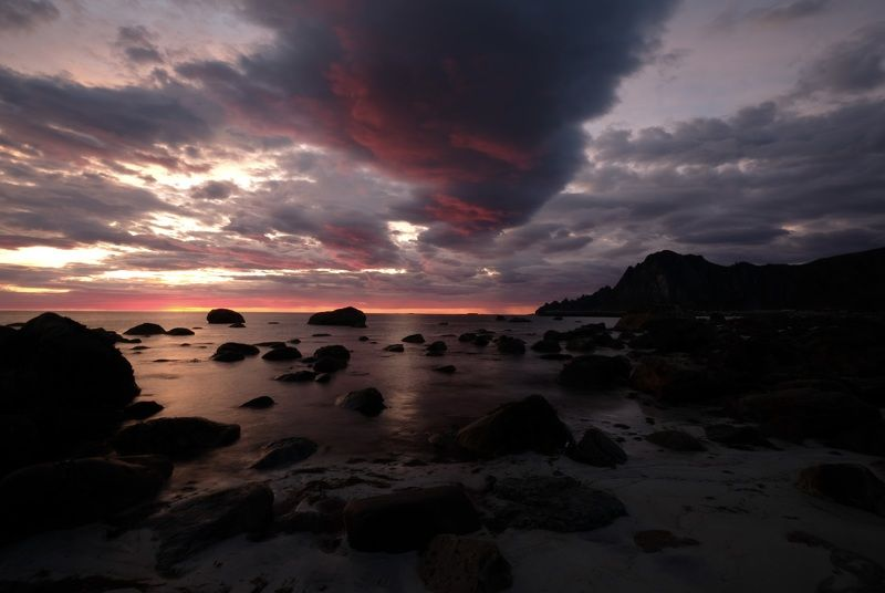 Landscapes, nature, Norway, sunset, colors, sky, clouds, rocks, mountain, Andøya, island, sea, Atlantic sea, Убегающие облака photo preview