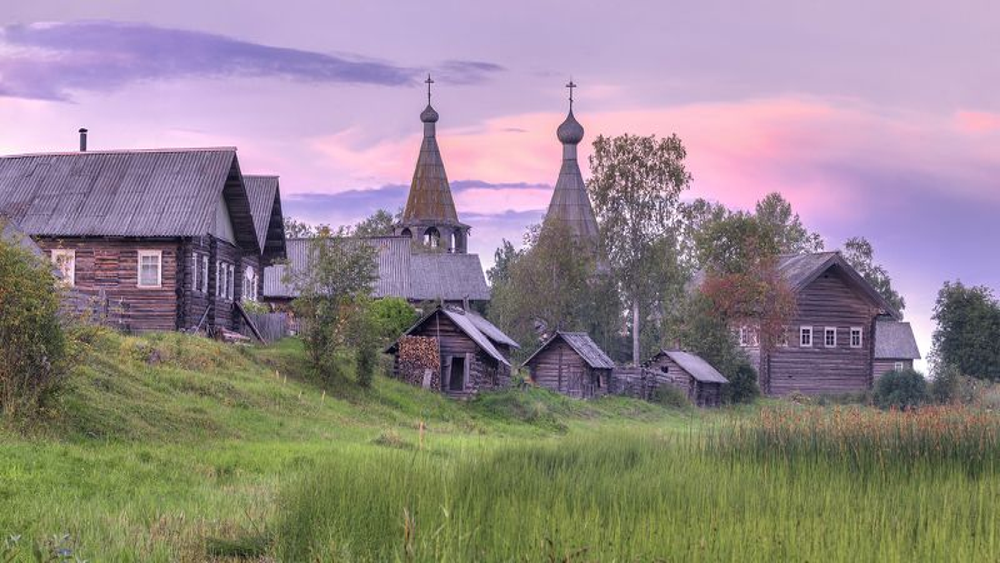 лето, деревня, церковь, баня  фото превью