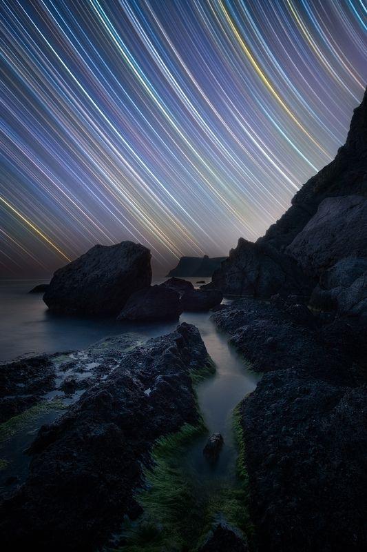 ночь, звезды, астро, звездные треки, startrails, треки, крым, юбк, черное море, балаклава, весна Когда Звезды расчерчивают Небоphoto preview