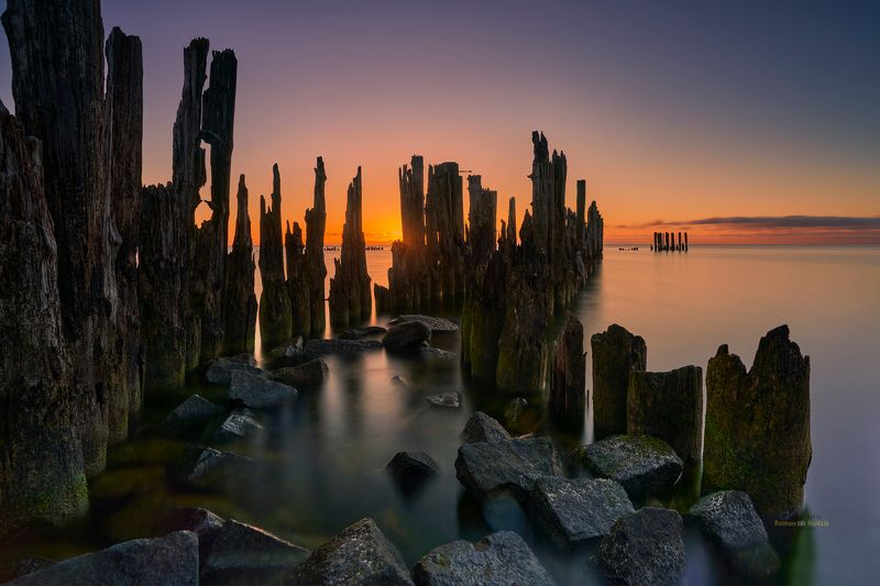 Palisade, sunrise, sea, landscape, stones, water, long exposure, Palisade. фото превью