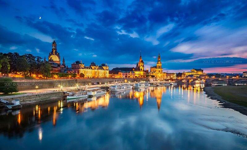 canon, europe, dresden, germany, architecture, river, flow, clouds, drama, iconic, landmark, travel, postcard Панорама Дрезденаphoto preview