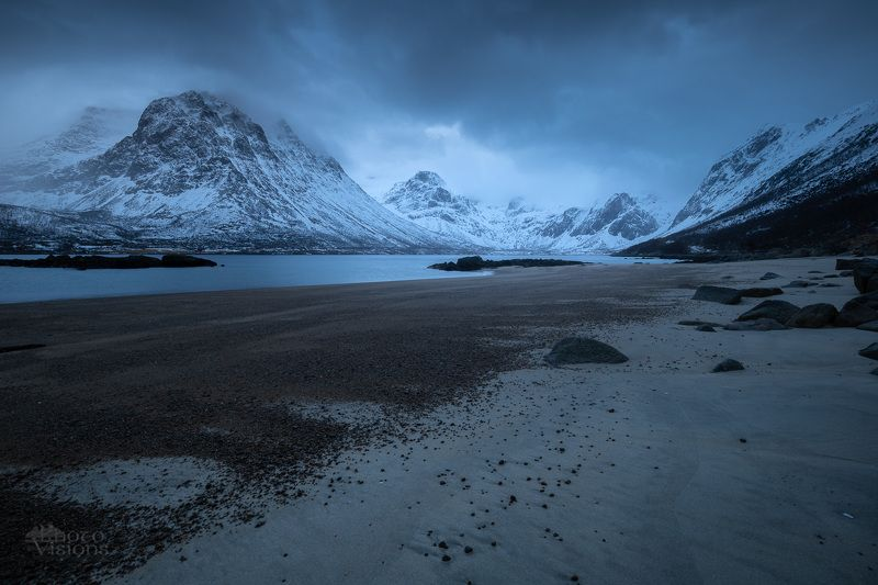 nature,norway,mountains,sea,beach,blue hour,winter,moody Blue arctic lightphoto preview