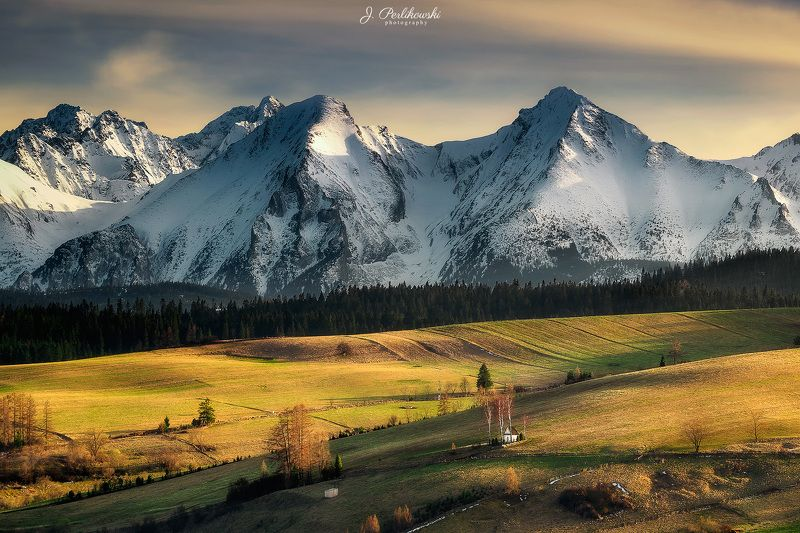 mountains, fields, spring, Chapel under muntainsphoto preview