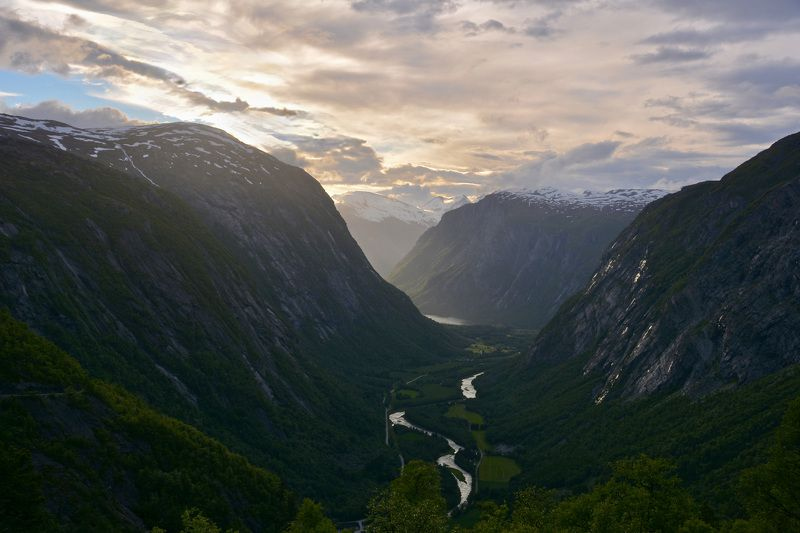 Landscapes, nature, Norway, river, mountain, sky, colors, snow, summer, sunset, clouds, sun light,  Река в долинеphoto preview