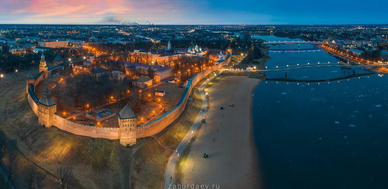 россия, новгород, волхов, дрон, весна, закат Новгород Великий фото превью