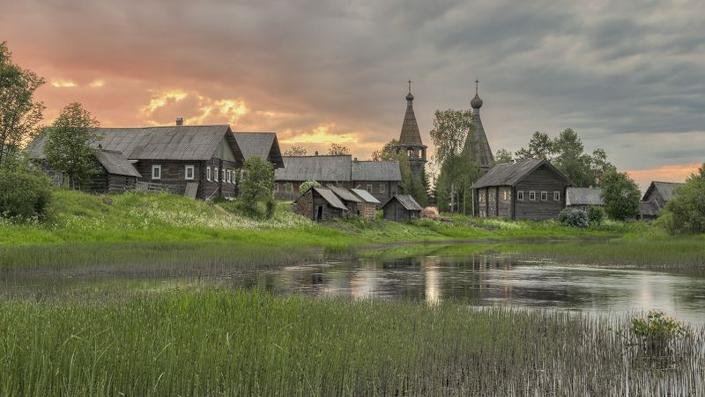 осень, вечер, деревня, церковь, река photo preview