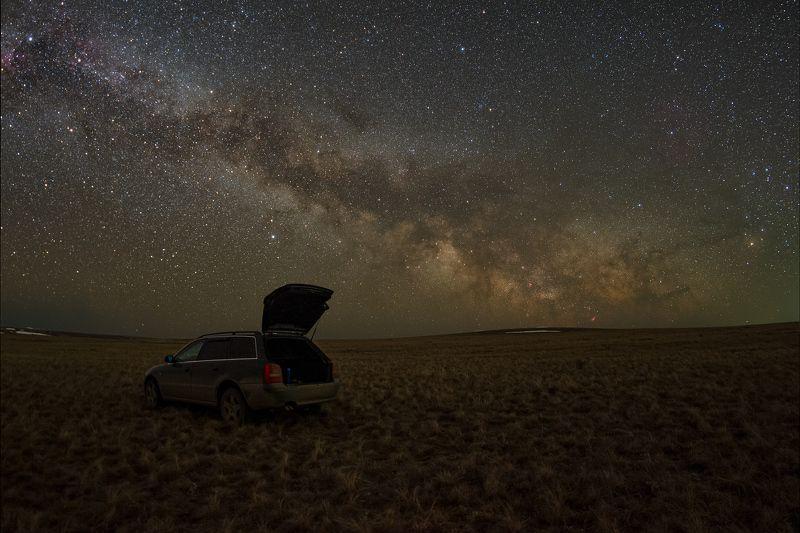 млечный путь, звезды, космос, ночь, длинная выдержка, canon, пейзаж, туманность, степь, авто, машина, весна Млечный путьphoto preview