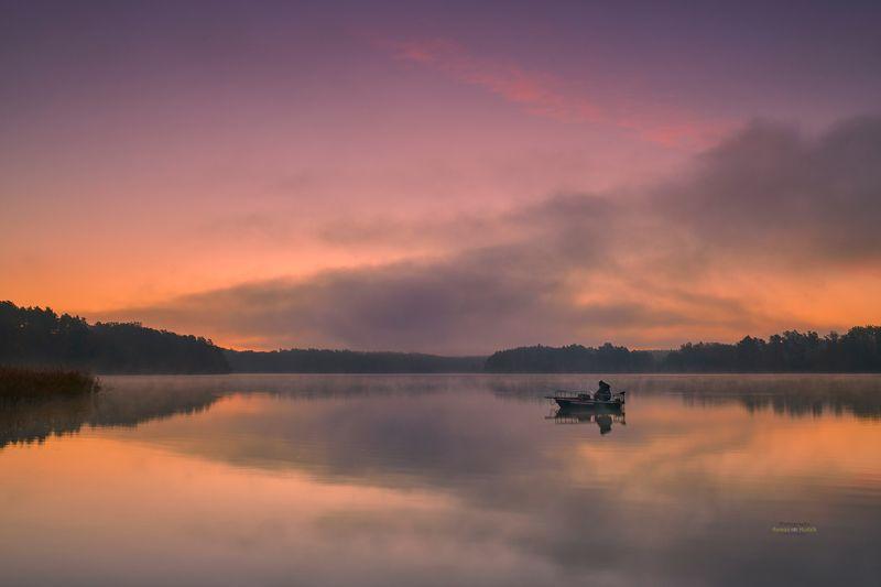 Fisherman, angler, landscape, sunrise, sky, water, lake, reflection, fog, Fisherman. фото превью
