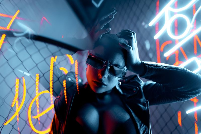 neon, cyber, pregnancy, pregnant, bald, girl, night, studio Cyber pregnancyphoto preview