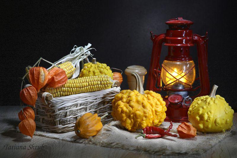 овощи, тыквы, декоративные, корзинка, лампа Декоративные тыквыphoto preview