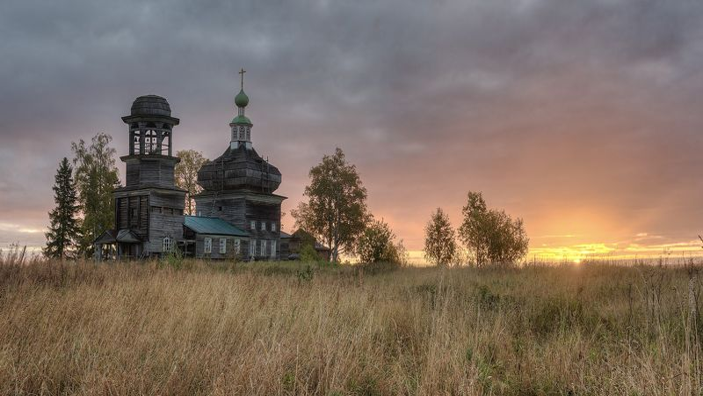 осень, утро, деревня, поле, церковь  фото превью
