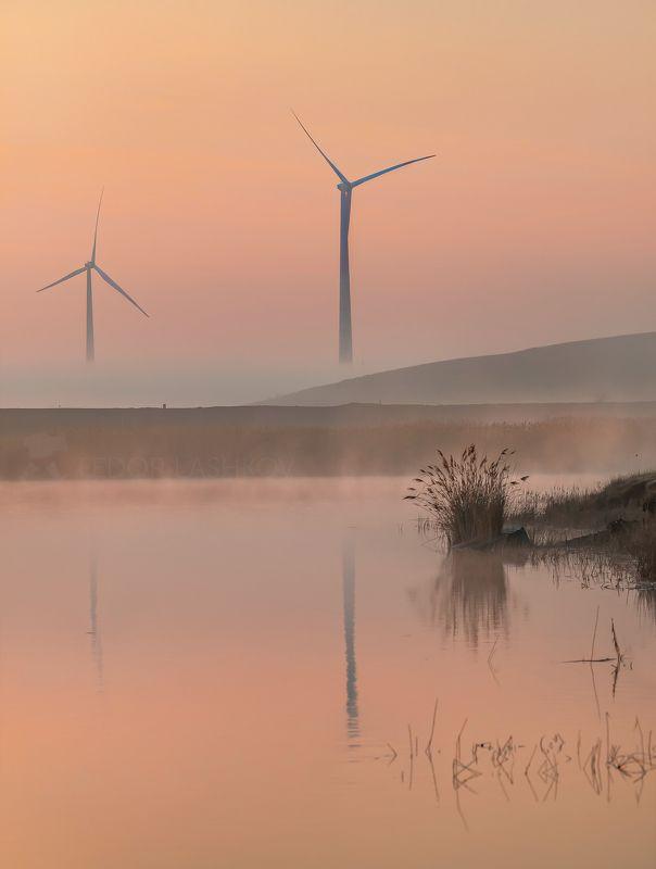 ставропольский край, ставрополье, кочубеевская вэс, ветропарк, ветроэлектростанция, ветряки, невинномысск, апрель, весна, пруд, водоём, туман, туманный, тростник, Голландский мотивphoto preview