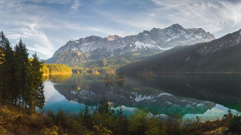 германия, бавария, озеро, отражение, горы, снег,  eibsee Озеро Айбзее. Бавария.photo preview