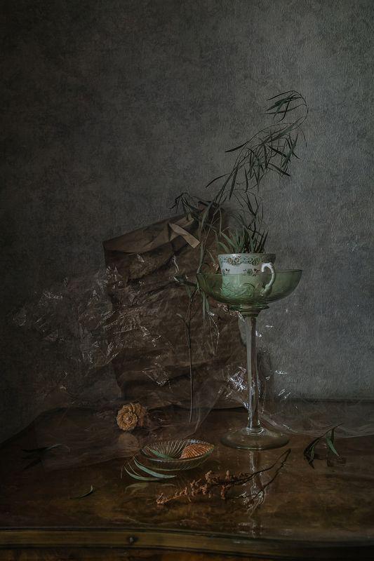 натюрморт, стекло, фарфор, ракушки Мятый хрустальphoto preview