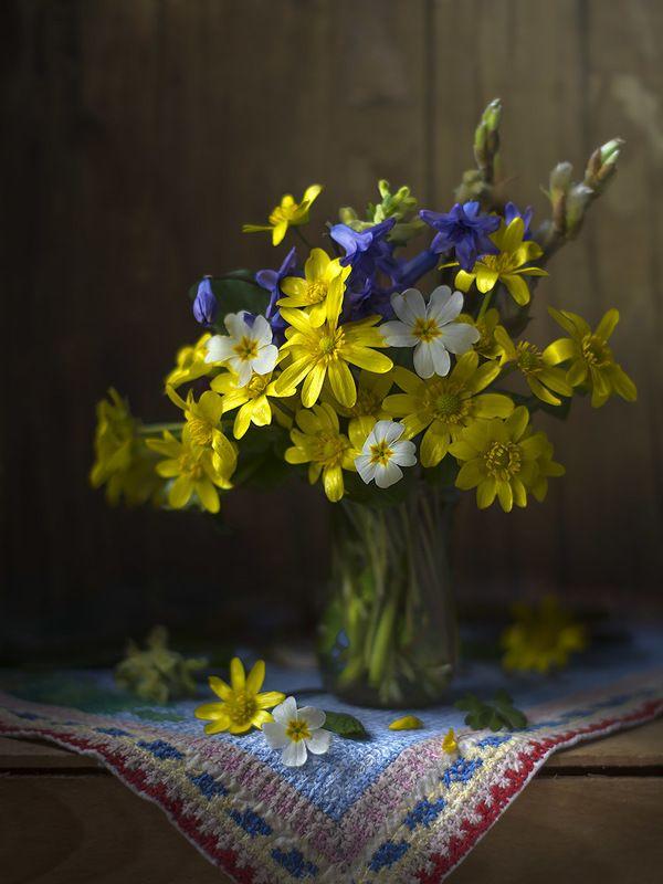 натюрморт с калужницами,весна,букет,цветы,художественное фото,искусство. Букетик калужниц.photo preview