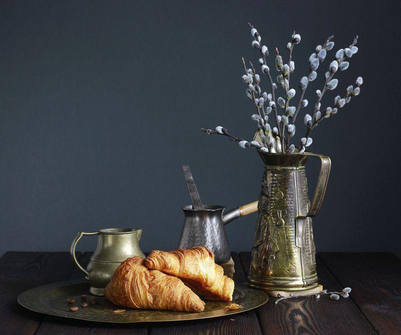 натюрморт, фотонатюрморт, утро, круассаны, верба,  наталья казанцева Утро весеннее...photo preview