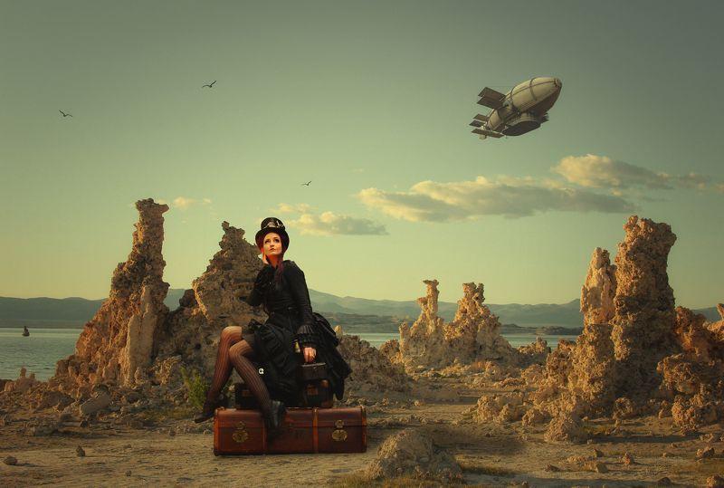 дирижабль, девушка, чемоданы, облака *****photo preview