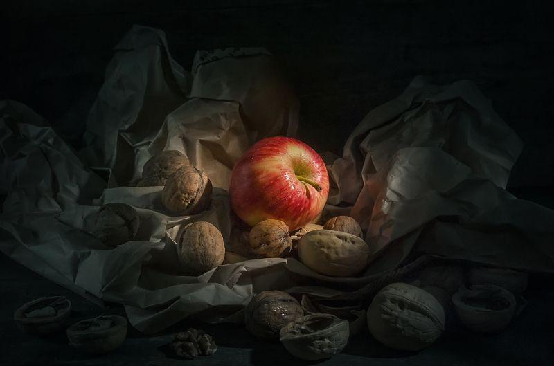 яблоко,орехи,чужой,свет,мятая бумага,темнота Остаться на светуphoto preview