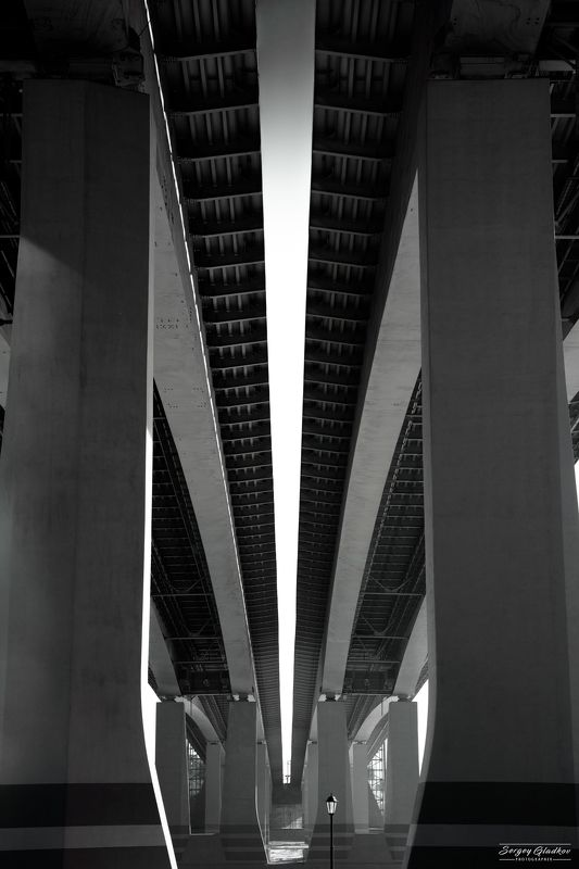 architecture, urban, city, dark, black, white, bridge, line, Russia, Rostov on Don Ворошиловский мостphoto preview